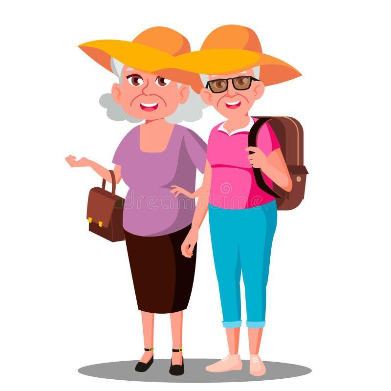 Δύο φίλοι ηλικιωμένων γυναικών στο διάνυσμα διακοπών Enjoing καπέλων απομονωμένη ωθώντας s κουμπιών γυναίκα έναρξης χεριών απεικό ελεύθερη απεικόνιση δικαιώματος