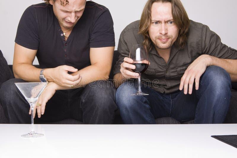 Δύο φίλοι που πίνουν στο σπίτι στοκ φωτογραφίες με δικαίωμα ελεύθερης χρήσης