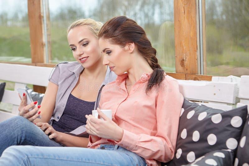 Δύο φίλοι γυναικών που μιλούν τα φλυτζάνια καφέ εκμετάλλευσης στοκ φωτογραφία με δικαίωμα ελεύθερης χρήσης