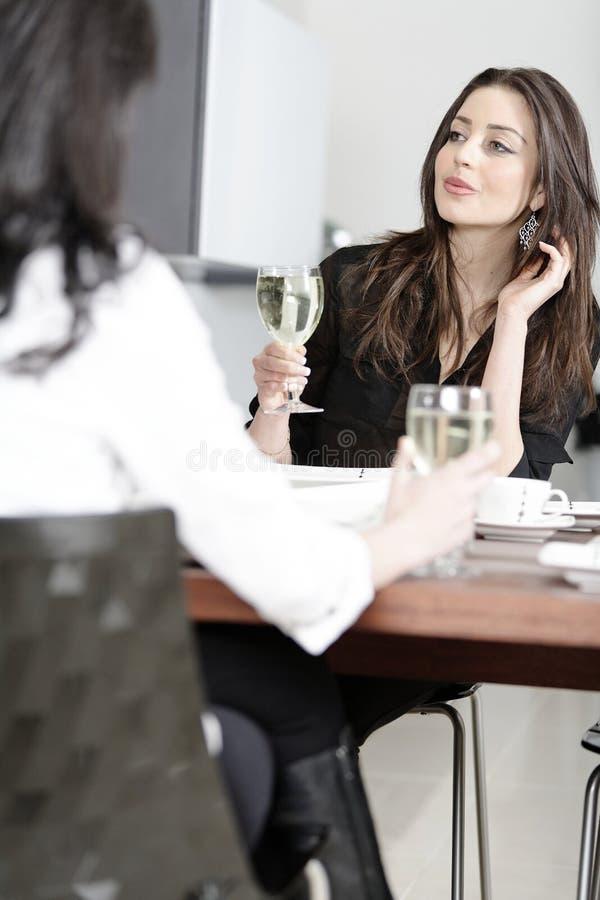 Δύο φίλοι που απολαμβάνουν ένα γεύμα στοκ φωτογραφίες
