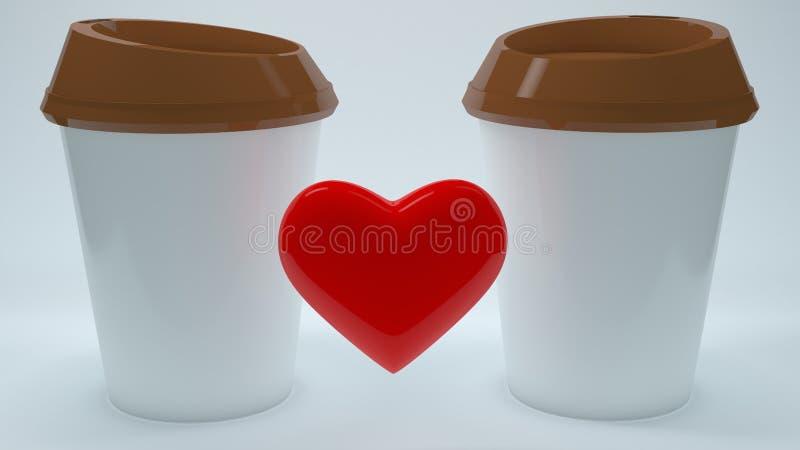 Δύο φλιτζάνια του καφέ με την έννοια καρδιών ελεύθερη απεικόνιση δικαιώματος