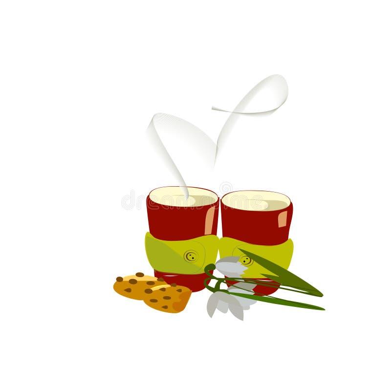 Δύο φλυτζάνια του θερμού καφέ με τα μπισκότα και snowdrops και του καπνού με μορφή μιας καρδιάς απεικόνιση αποθεμάτων