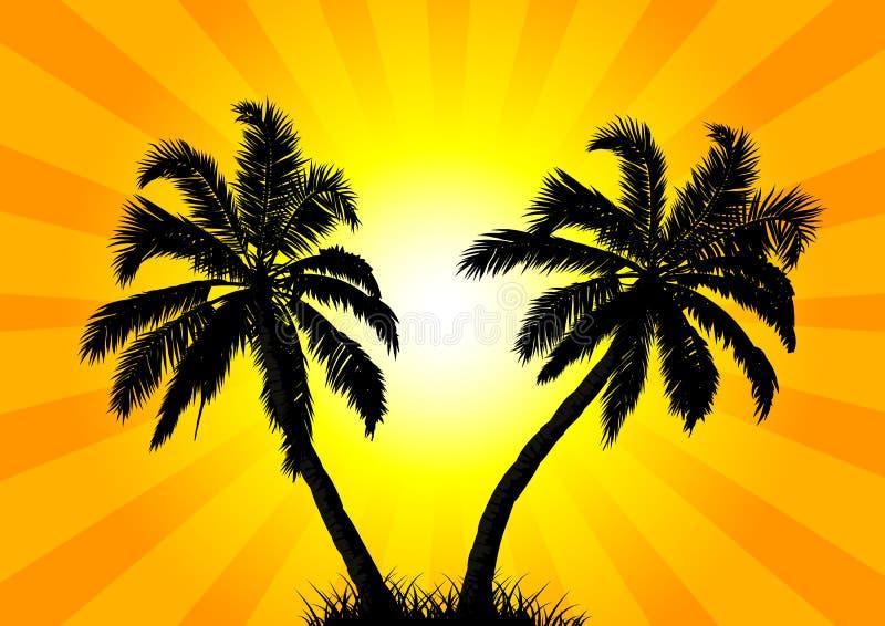 Δύο φοίνικες στο υπόβαθρο του ήλιου ελεύθερη απεικόνιση δικαιώματος