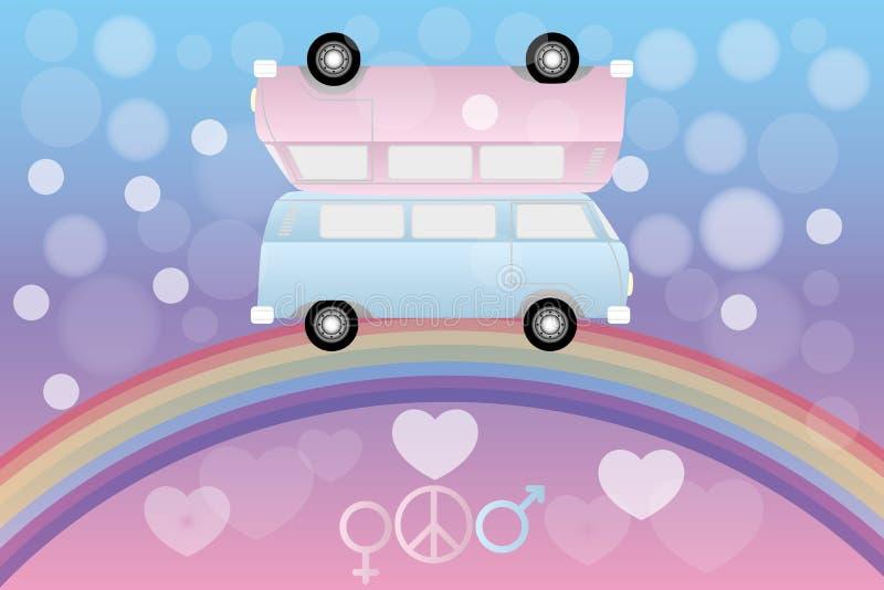 Δύο φορτηγά ερωτευμένα πέρα από το ουράνιο τόξο και τις φυσαλίδες, τις καρδιές, το σημάδι γένους και ειρήνης διανυσματική απεικόνιση