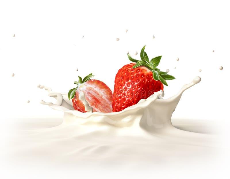 Δύο φράουλες που περιέρχονται στο ράντισμα γάλακτος. στοκ φωτογραφία με δικαίωμα ελεύθερης χρήσης