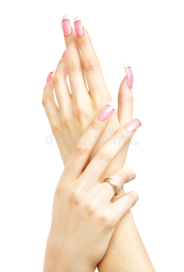 Δύο χέρια με τα ρόδινα ακρυλικά καρφιά στοκ φωτογραφίες με δικαίωμα ελεύθερης χρήσης