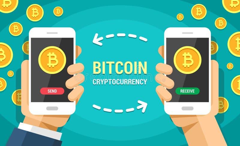 Δύο χέρια που κρατούν τα κινητά τηλέφωνα με τη διανυσματική οριζόντια έγχρωμη εικονογράφηση bitcoin Το Bitcoins στέλνει και λαμβά ελεύθερη απεικόνιση δικαιώματος