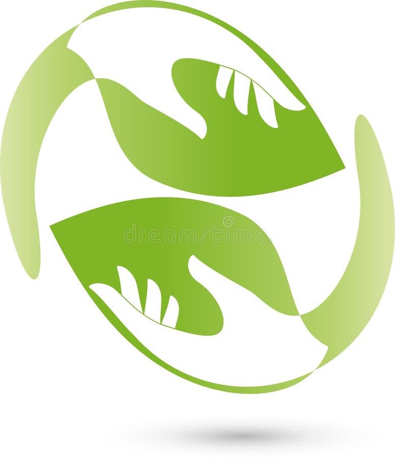 Δύο χέρια όπως τα φύλλα, τα φυτά, naturopath και λογότυπο wellness ελεύθερη απεικόνιση δικαιώματος