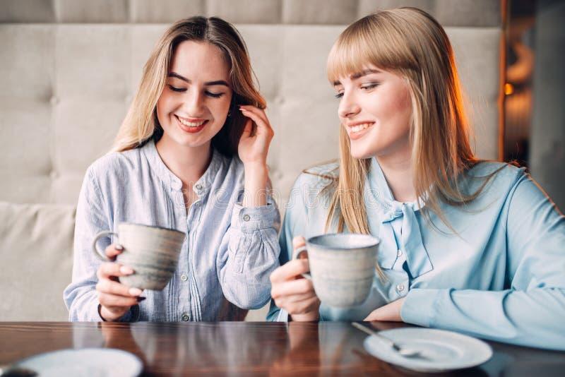 Δύο χαμογελώντας φίλες πίνουν τον καφέ στον καφέ στοκ εικόνες