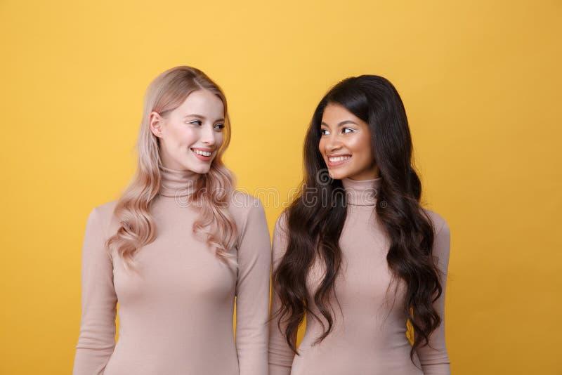 Δύο χαμογελώντας κυρίες που κοιτάζουν ο ένας στον άλλο στοκ φωτογραφία