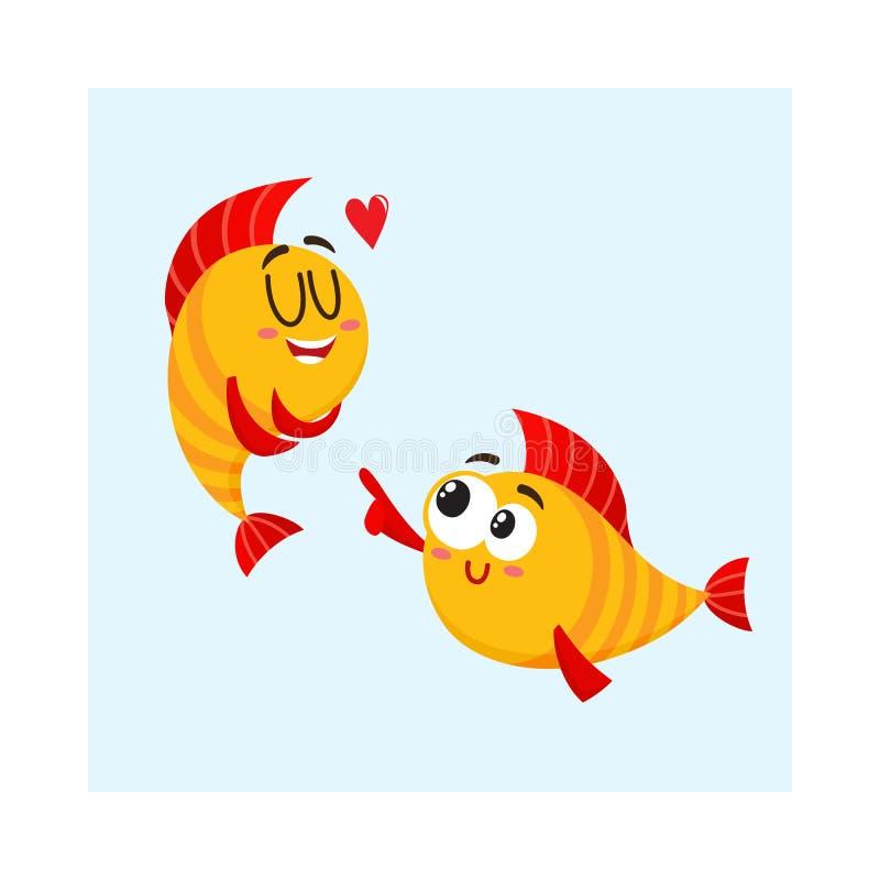 Δύο χαμογελώντας χρυσοί χαρακτήρες ψαριών, ένας που παρουσιάζουν αγάπη, ένα άλλο γέλιο διανυσματική απεικόνιση