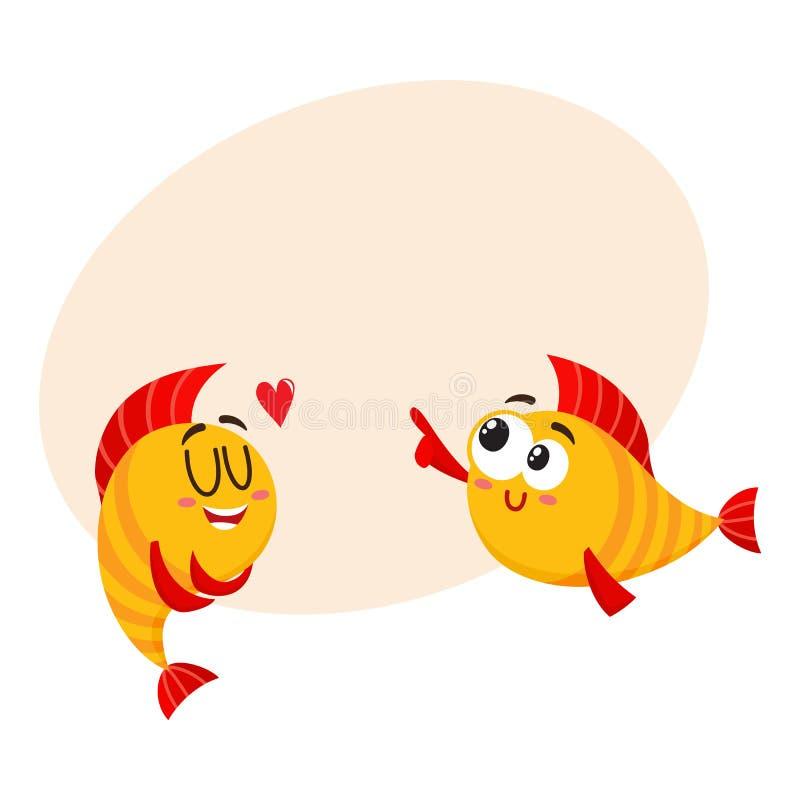 Δύο χαμογελώντας χρυσοί χαρακτήρες ψαριών, ένας που παρουσιάζουν αγάπη, ένα άλλο γέλιο ελεύθερη απεικόνιση δικαιώματος