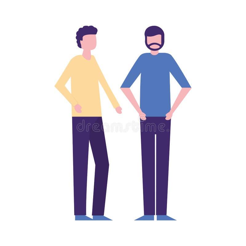 Δύο χαρακτήρες ατόμων που στέκονται στο άσπρο υπόβαθρο ελεύθερη απεικόνιση δικαιώματος