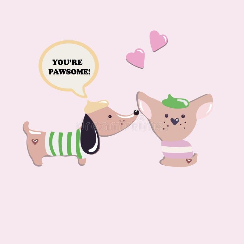 Δύο χαριτωμένα γαλλικά σκυλιά ερωτευμένα ελεύθερη απεικόνιση δικαιώματος