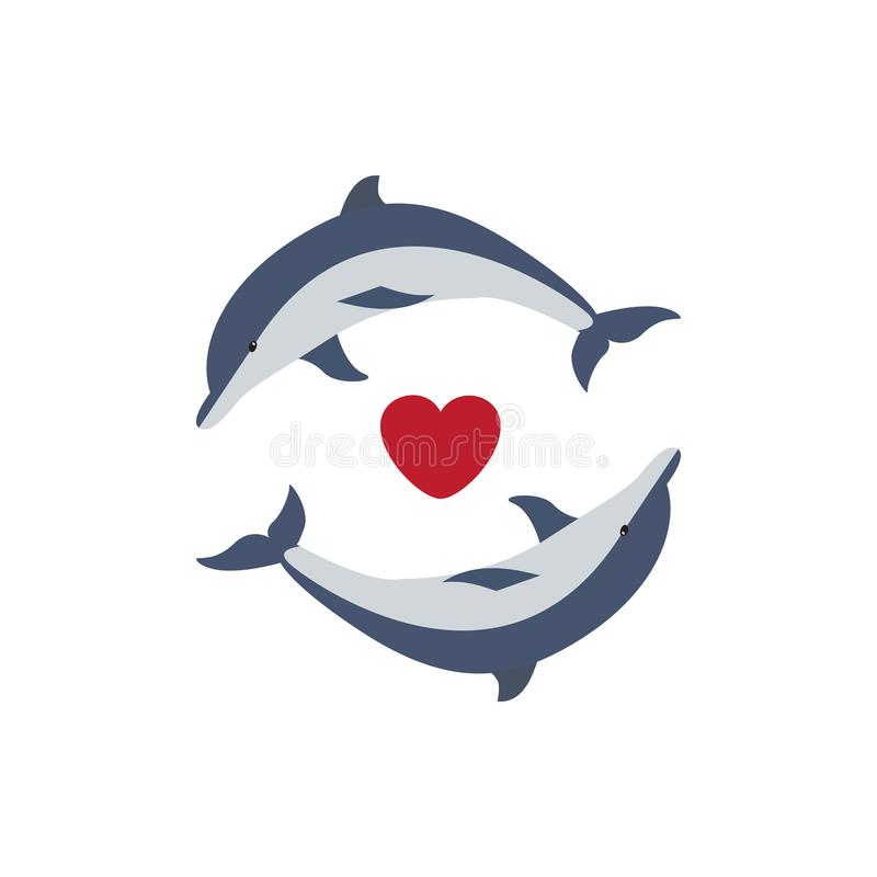 Δύο χαριτωμένα δελφίνια ερωτευμένα διανυσματική απεικόνιση
