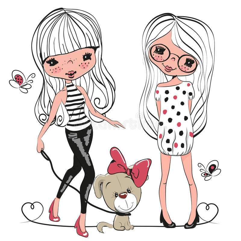 Δύο χαριτωμένα κορίτσια και ένα σκυλί ελεύθερη απεικόνιση δικαιώματος