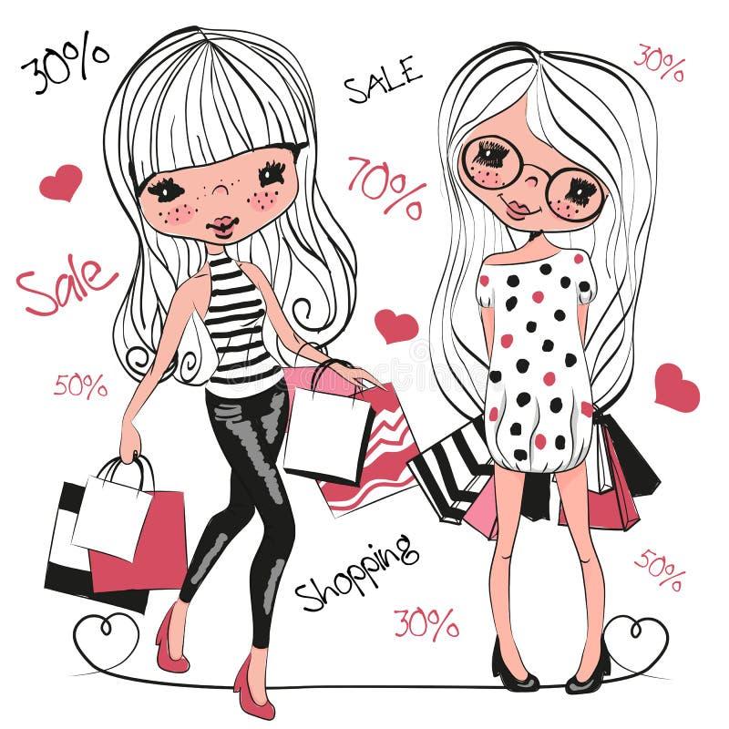 Δύο χαριτωμένα κορίτσια κινούμενων σχεδίων με τις τσάντες διανυσματική απεικόνιση