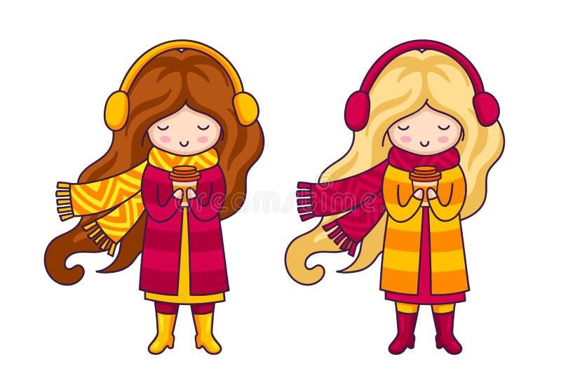 Δύο χαριτωμένα μικρά κορίτσια, που φορούν τα παλτά και τα μεγάλα πλεκτά μαντίλι Μόδα φθινοπώρου ελεύθερη απεικόνιση δικαιώματος