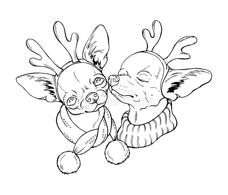 Δύο χαριτωμένα σκυλιά στα κοστούμια Χριστουγέννων διανυσματική απεικόνιση