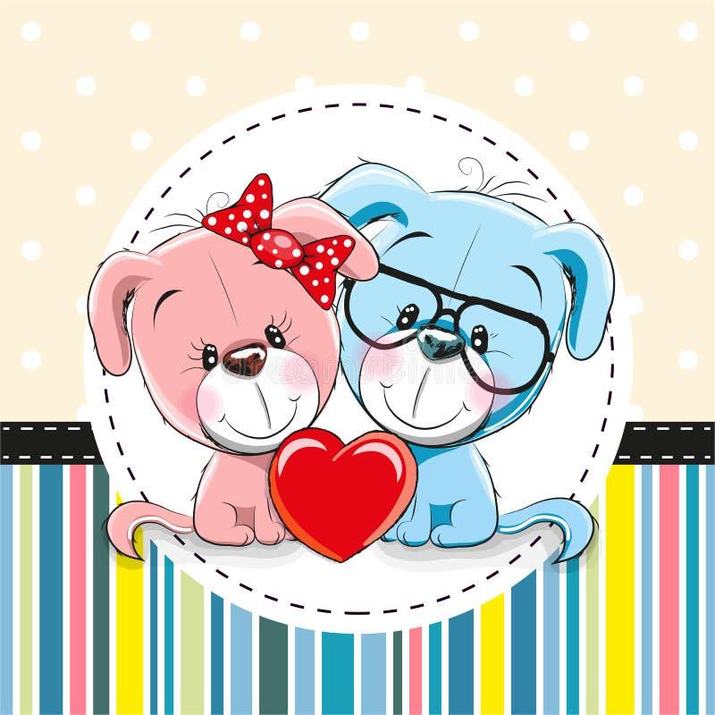 Δύο χαριτωμένα σκυλιά κινούμενων σχεδίων διανυσματική απεικόνιση