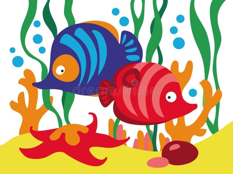 Δύο χαριτωμένα ψάρια κινούμενων σχεδίων κάτω από τη θάλασσα διανυσματική απεικόνιση