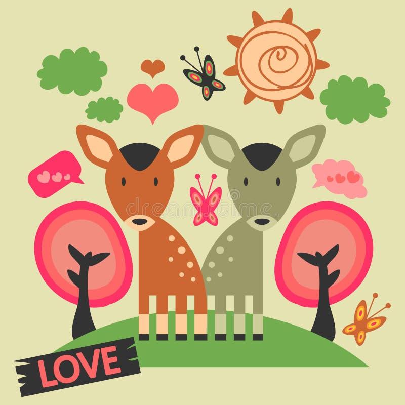 Δύο χαριτωμένα deers ερωτευμένα διανυσματική απεικόνιση