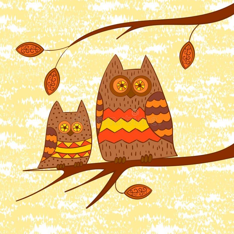 Δύο χαριτωμένες κουκουβάγιες στον κλάδο διανυσματική απεικόνιση