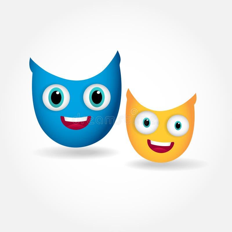Δύο χαριτωμένες κουκουβάγιες χαμόγελου που απομονώνονται στο άσπρο υπόβαθρο απεικόνιση αποθεμάτων