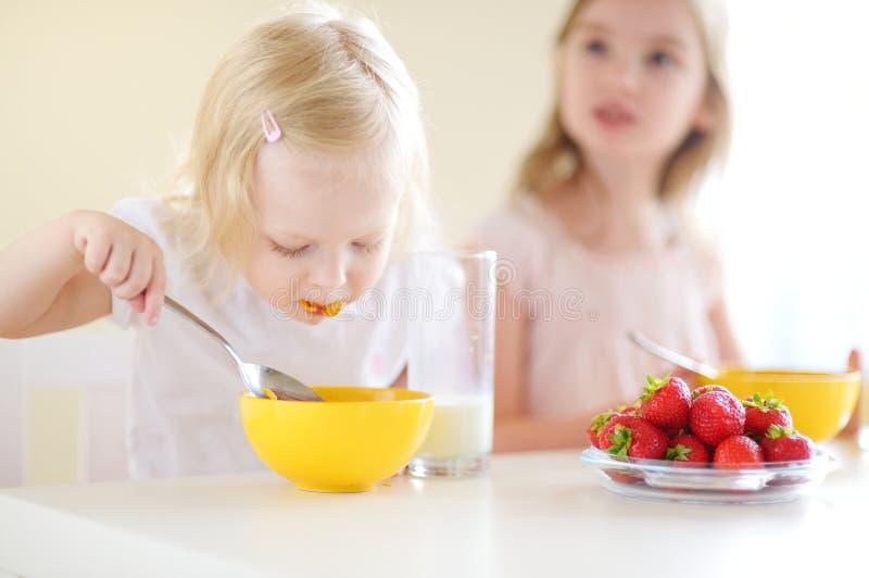 Δύο χαριτωμένες μικρές αδελφές που τρώνε τα δημητριακά σε μια κουζίνα στοκ εικόνες