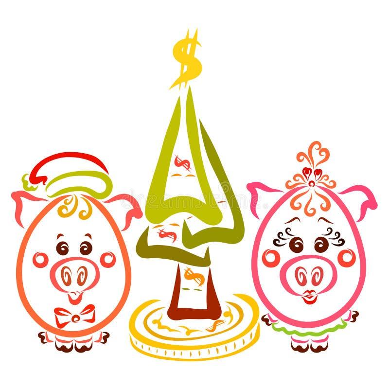 Δύο χαριτωμένοι μικροί χοίροι, ένα κορίτσι και ένα αγόρι, δίπλα σε ένα χριστουγεννιάτικο δέντρο διανυσματική απεικόνιση