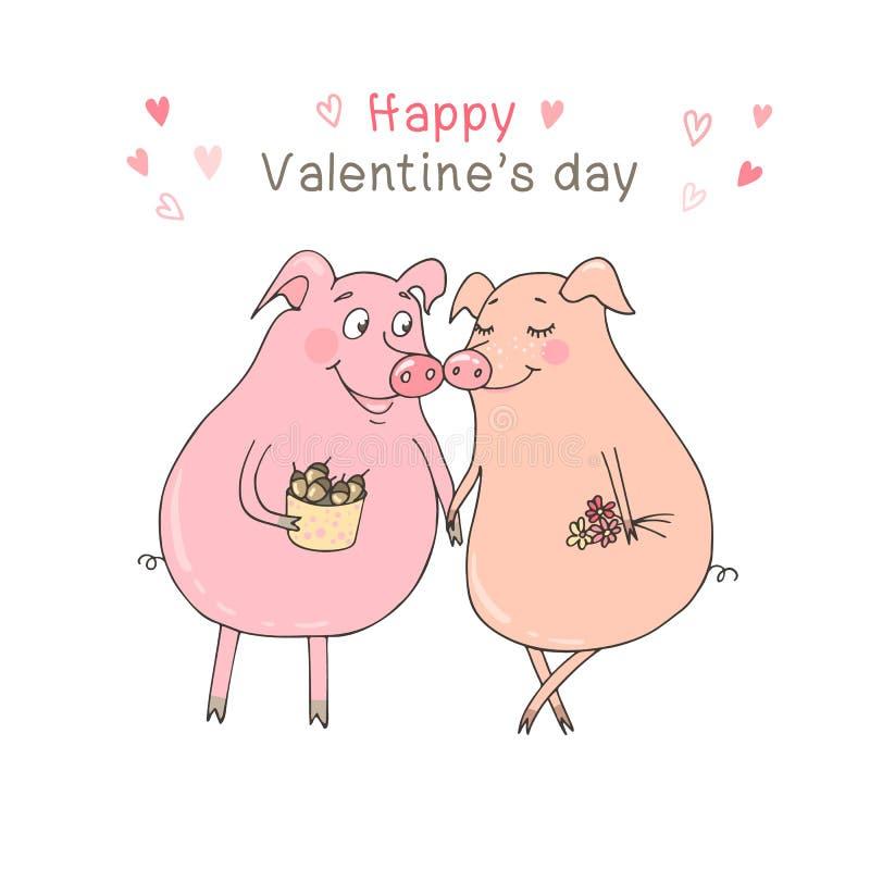 Δύο χαριτωμένοι χοίροι πεσμένος ερωτευμένος ελεύθερη απεικόνιση δικαιώματος
