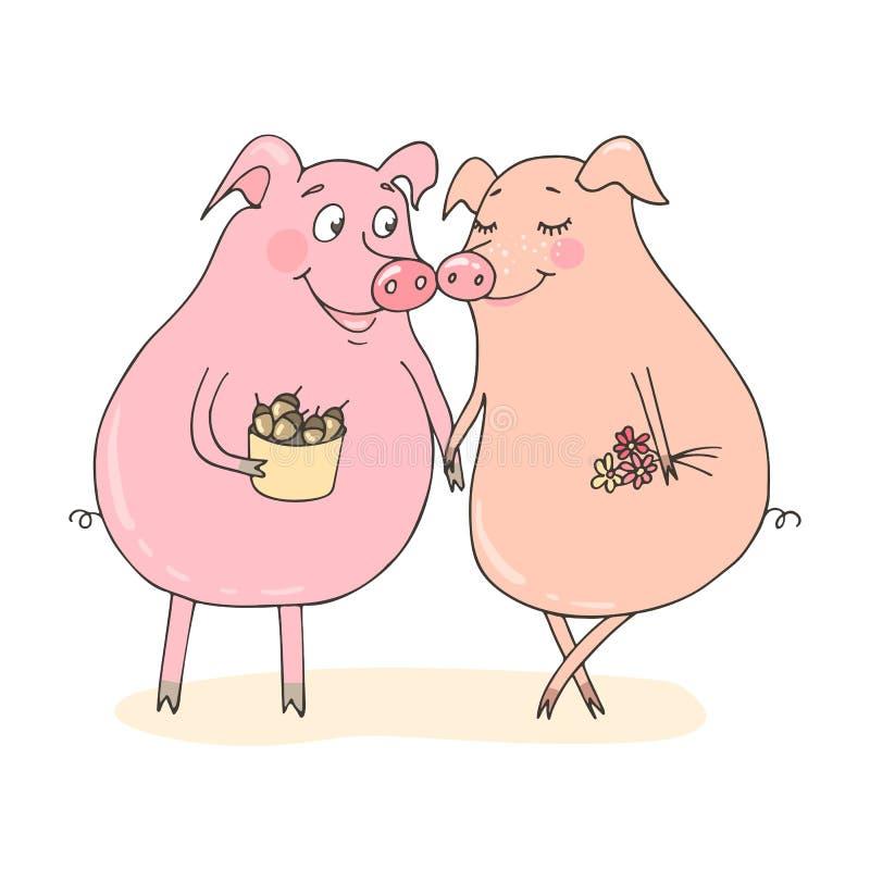 Δύο χαριτωμένοι χοίροι πεσμένος ερωτευμένος απεικόνιση αποθεμάτων