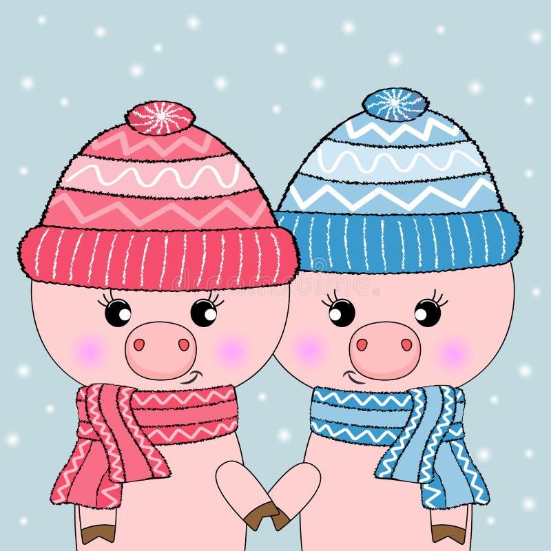 Δύο χαριτωμένοι χοίροι που απομονώνονται σε ένα μπλε υπόβαθρο Γειά σου χειμώνας διανυσματική απεικόνιση