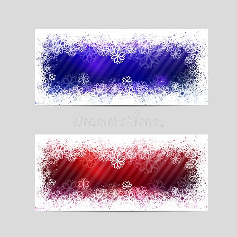 Δύο χειμερινά διακοσμητικά εμβλήματα ελεύθερη απεικόνιση δικαιώματος