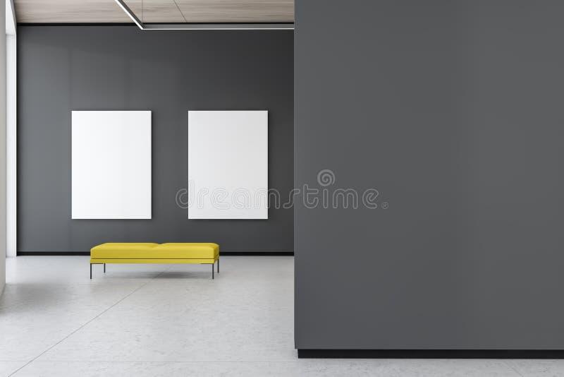 Δύο χλευάζουν επάνω τις αφίσες στην γκρίζα στοά με τον πάγκο διανυσματική απεικόνιση