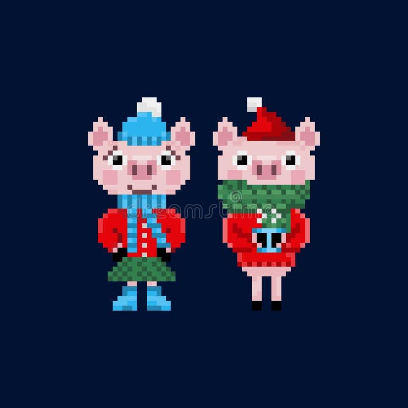 Δύο χοίροι Χριστουγέννων εικονοκυττάρου στα θερμά ενδύματα διανυσματική απεικόνιση