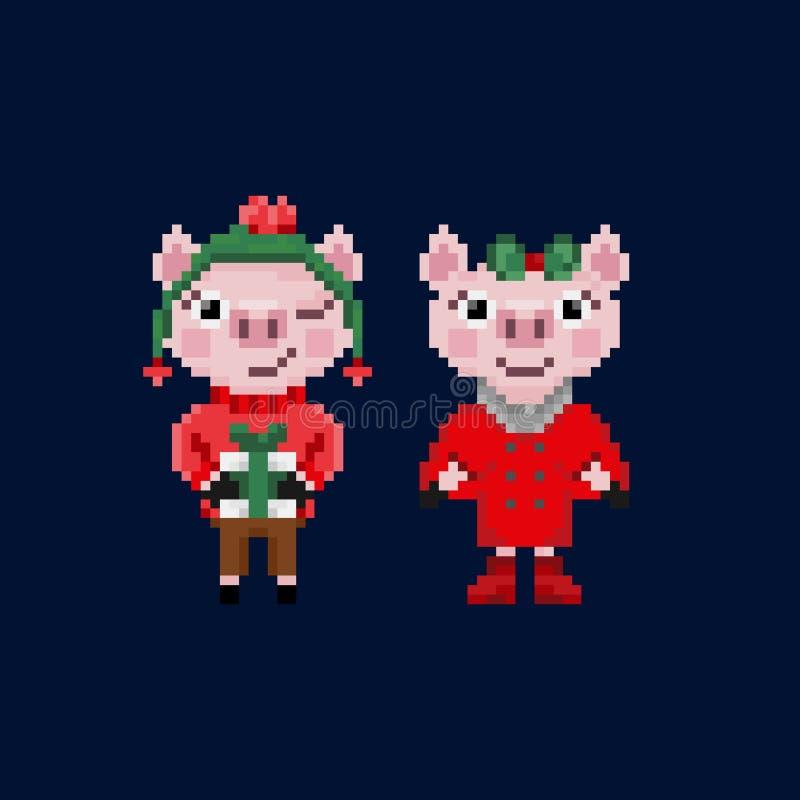 Δύο χοίροι Χριστουγέννων εικονοκυττάρου στα θερμά ενδύματα απεικόνιση αποθεμάτων