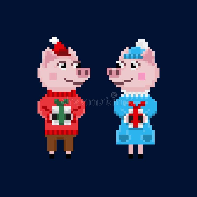 Δύο χοίροι Χριστουγέννων εικονοκυττάρου στα θερμά ενδύματα ελεύθερη απεικόνιση δικαιώματος