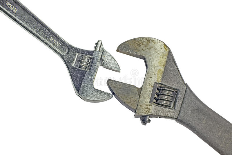 Δύο χρησιμοποιημένα διευθετήσιμα κλειδιά στοκ εικόνα