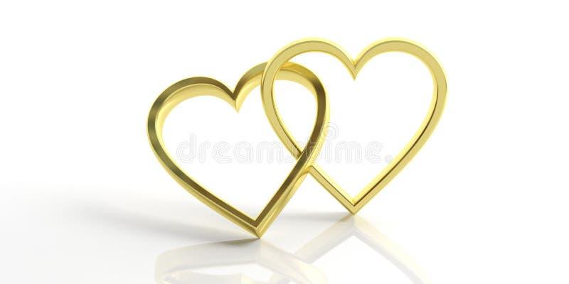Δύο χρυσά γαμήλια δαχτυλίδια μορφής καρδιών που απομονώνονται στο άσπρο υπόβαθρο, τρισδιάστατη απεικόνιση ελεύθερη απεικόνιση δικαιώματος