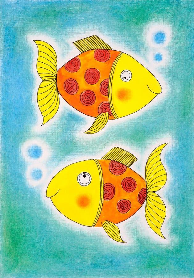 Δύο χρυσά ψάρια, σχέδιο του παιδιού, ζωγραφική watercolor διανυσματική απεικόνιση