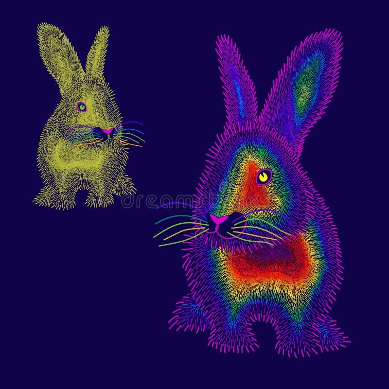 Δύο χρωματισμένο ουράνιο τόξο κουνέλι απεικόνιση αποθεμάτων