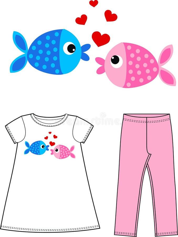 Δύο ψάρια ερωτευμένα ελεύθερη απεικόνιση δικαιώματος