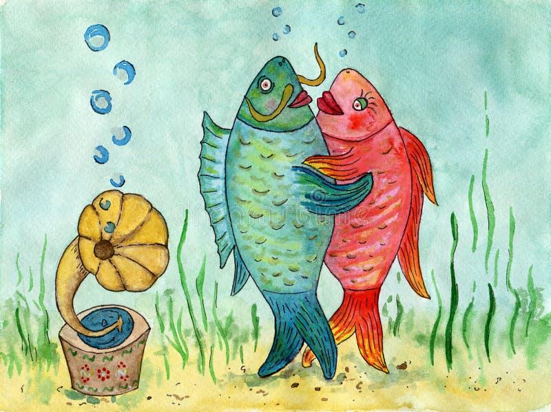 Δύο ψάρια που χορεύουν ένα βαλς αστεία εικόνα Εραστές χορού waterco ελεύθερη απεικόνιση δικαιώματος