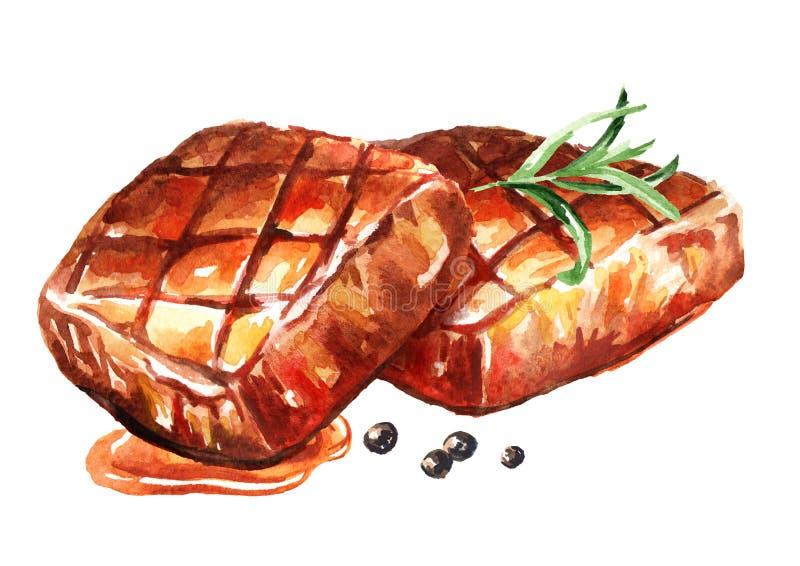 Δύο ψημένες στη σχάρα μπριζόλες βόειου κρέατος με τα καρυκεύματα Συρμένη χέρι απεικόνιση Watercolor, που απομονώνεται στο άσπρο υ ελεύθερη απεικόνιση δικαιώματος