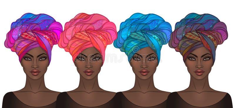 Δύο όμορφα κορίτσια αφροαμερικάνων Διανυσματική απεικόνιση του Μαύρου ελεύθερη απεικόνιση δικαιώματος