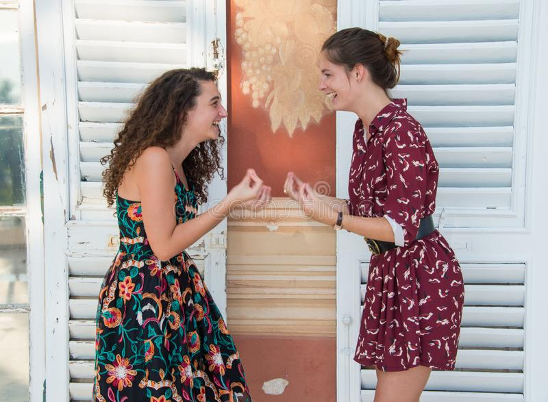 Δύο όμορφα κορίτσια κάνουν τον Ιταλό για ποιο πράγμα μιλάτε; σημάδι στοκ εικόνες με δικαίωμα ελεύθερης χρήσης