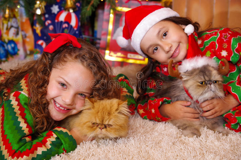 Δύο όμορφα χαμογελώντας μικρά κορίτσια που φορούν Χριστούγεννα ντύνουν, αγκαλιάζοντας τις γάτες της, το σγουρό κορίτσι με έναν κό στοκ εικόνες