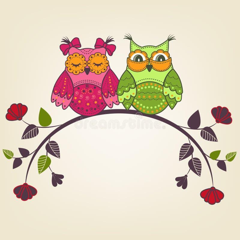 Δύο όμορφες κουκουβάγιες σε έναν κλάδο απεικόνιση αποθεμάτων