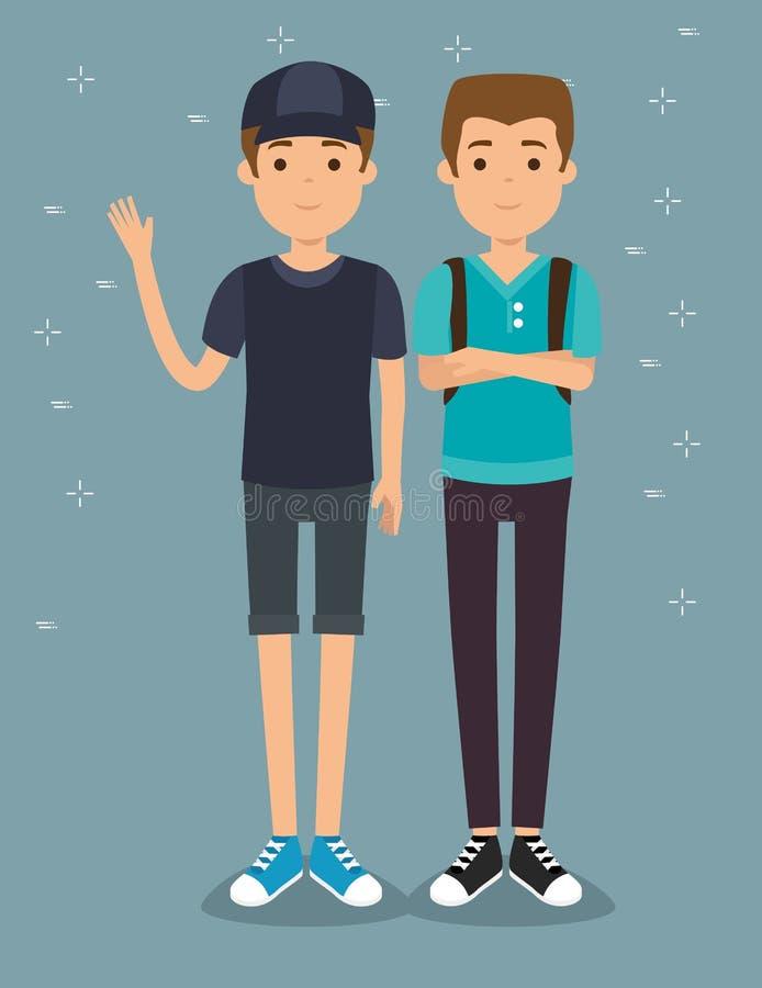 Δύο όμορφες νεολαίες παραγωγής milennials ατόμων διανυσματική απεικόνιση